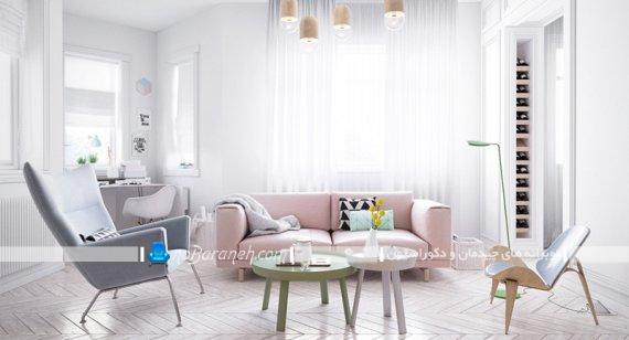 مبل راحتی صورتی رنگ برای اتاق نشیمن و پذیرایی. دیزاین اتاق پذیرایی با رنگ های پاستلی شیک زیبا.