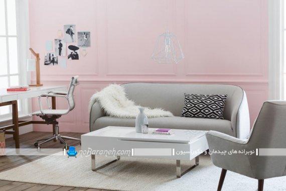 رنگ آمیزی دیوار اتاق پذیرایی با صورتی پاستلی. مدل های جدید و شیک و مدرن دیزاین اتاق پذیرایی.
