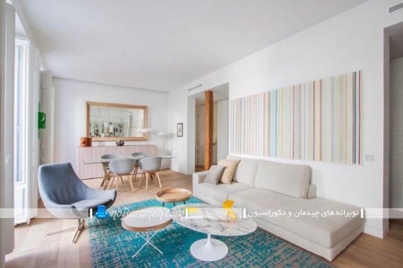 تزیین دیوار پذیرایی با رنگهای پاستلی. رنگ آمیزی شاد و روشن اتاق پذیرایی.