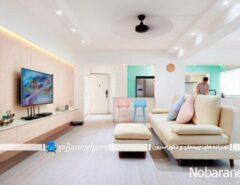 رنگ آمیزی شیک اتاق پذیرایی رنگ پاستلی (17)