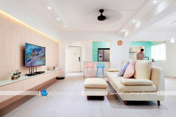 رنگ آمیزی شاد دکوراسیون اتاق پذیرایی مدرن و شیک با رنگ های پاستلی.