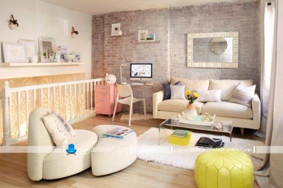دکوراسیون اتاق نشیمن با رنگ های پاستلی شاد و متنوع. دیزاین اتاق پذیرایی با رنگ های زیبا و مدرن.