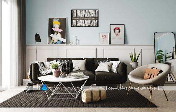 تزیین اتاق پذیرایی با تابلوهای تزیینی مدرن شیک فانتزی. مدل مبل راحتی فانتزی اتاق پذیرایی