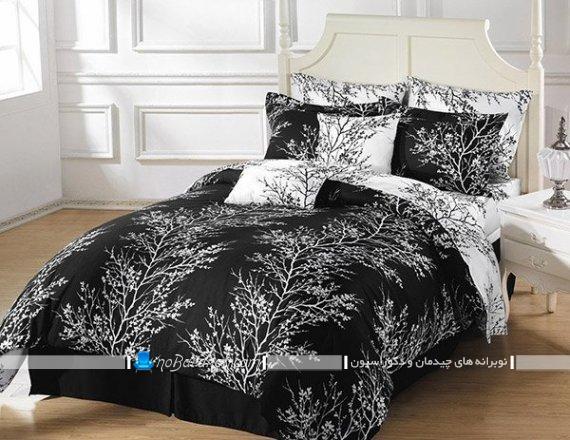 طرح های جدید ست روتختی دو نفره مدرن شیک فانتزی سیاه و سفید رنگ بندی زیبا