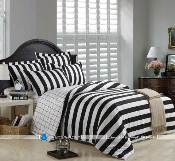 ملحفه و روتختی دو نفره سیاه و سفید برای دکوراسیون مدرن شیک اتاق خواب عروس