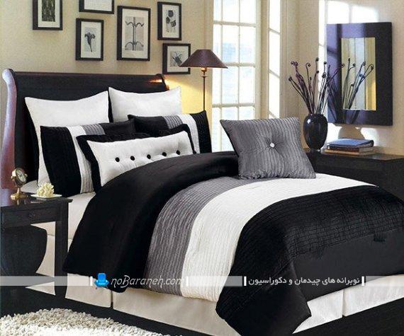 روبالشی و ملحفه مدرن برای تخت دو نفره. مدل های جدید و شیک روتختی سیاه و سفید فانتزی مدرن