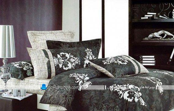 روتختی و روبالشی سیاه و سفید کلاسیک. ست ملحفه و روتختی شیک کلاسیک سلطنتی برای سرویس خواب عروس