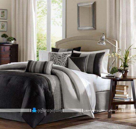 روتختی و ملحفه دو نفره مدرن با رنگ بندی سیاه و سفید شیک فانتزی زیبا جدید