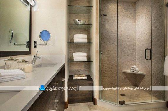 شلف های شیشه ای شیک برای حمام و توالت یا سرویس بهداشتی