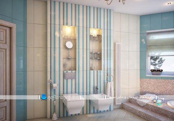 تزیین فضای اطراف توالت فرنگی با شلف شیشه ای شیک مدرن فانتزی