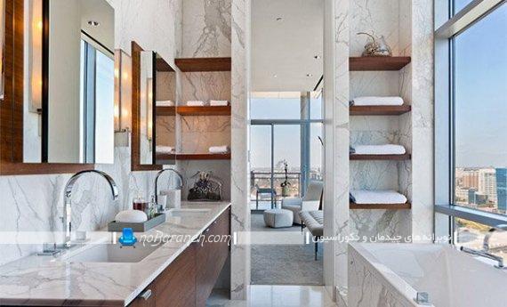 نصب شلف و قفسه روی دیوار سرویس بهداشتی