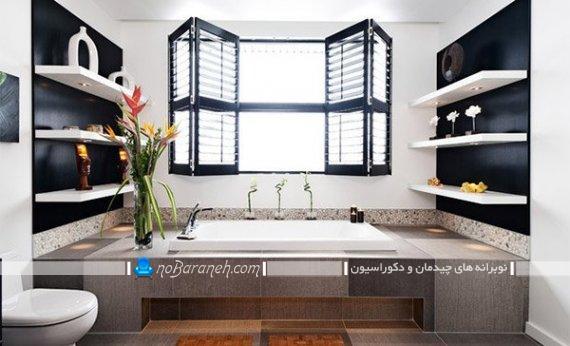 شلف و قفسه های چوبی برای حمام و توالت