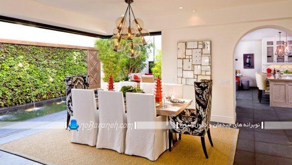 صندلی سلطنتی ناهارخوری با پارچه طرح دار سیاه و سفید شیک فانتزی کلاسیک سلطنتی.