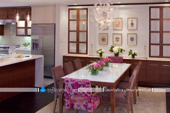 صندلی ناهارخوری گل دار برای میز چوبی با مدل جدید شیک فانتزی.