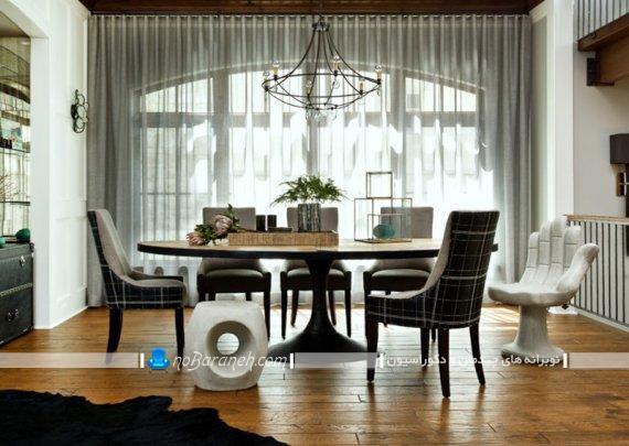 پارچه رومبلی ساده برای میز ناهارخوری شیک مدرن مینیمال.