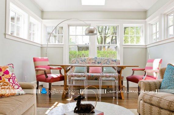 صندلی ناهار خوری کلاسیک با رنگ بندی شاد. صندلی ناهار خوری با رنگ بندی صورتی و کرم شیک فانتزی.