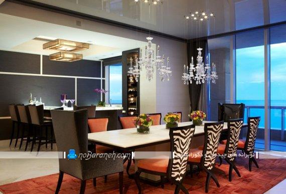 صندلی ناهارخوری سلطنتی با پارچه طرح پلنگی
