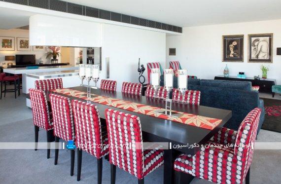صندلی طرح دار و چاپ خورده فانتزی و مدرن برای میز ناهارخوری