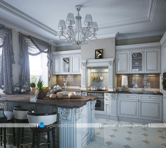 پرده فانتزی و سلطنتی آشپزخانه والان دار و شیک. پرده برای آشپزخانه با کابینت ممبران و دکوراسیون کلاسیک و سلطنتی.