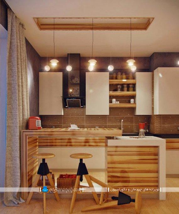 تزیین پنجره آشپزخانه با پرده ضخیم و شیک مدرن. مدل های ساده و جدید پرده آشپزخانه اپن و جزیره.