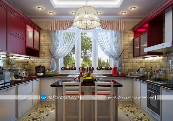پرده حریر والان دار آشپزخانه در مدل های شیک فانتزی برای ست کردن با کابینت بنفش