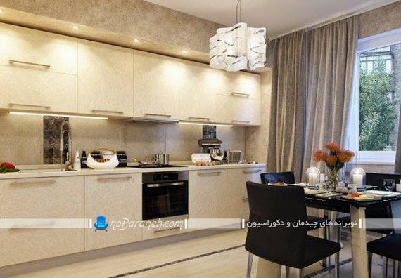 دکوراسیون آشپزخانه با پرده ساده و مینیمالیستی شیک و مدرن. پرده های زیبا برای دکوراسیون مدرن آشپزخانه.