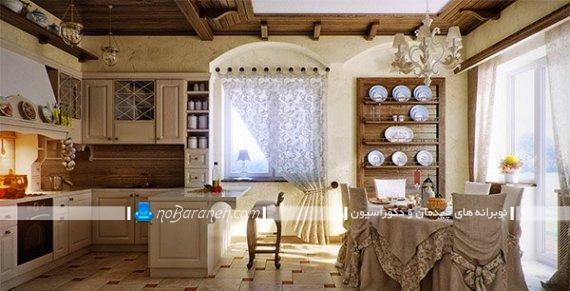 طرح جدید پرده کلاسیک و سلطنتی در مدل های شیک و زیبا. پرده طرح دار حریر و گل دار برای تزیین پنجره آشپزخانه کلاسیک.