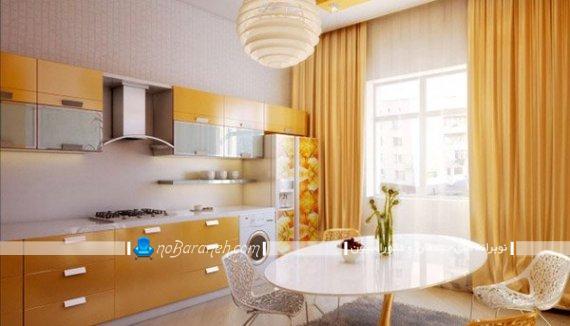 پرده آشپزخانه : با طراحی جدید و شیک مدرن ساده برای آشپزخانه بسته و اپن. پرده ساده زرد رنگ و نارنجی رنگ مدرن آشپزخانه