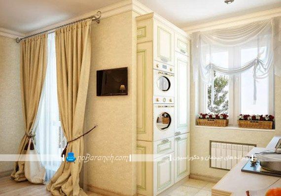 پرده آشپزخانه به سبک کلاسیک و فانتزی شیک و زیبا. تزیین پنجره آشپزخانه پرده های زیبا و شیک.