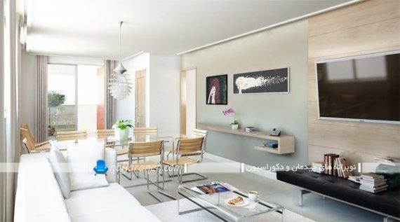 مدل نصب تلویزیون دیواری در پذیرایی کوچک. مدل چیدمان میز ناهارخوری و مبل راحتی در کنار هم. تزیینات شیک و ساده اتاق پذیرایی