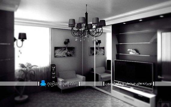 دکوراسیون منزل با رنگ سیاه یا مشکی. دیزاین شیک و مدرن اتاق پذیرایی با رنگ سیاه. مدل میز تلویزیون مدرن