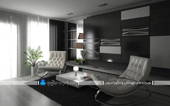 مدل دکوراسیون مدرن اتاق نشیمن با رنگ سیاه و سفید. طراحی دکوراسیون فانتزی پذیرایی کوچک.