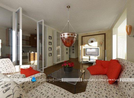 مدل چیدمان مبل ال در اتاق پذیرایی ، مدل چیدمان تلویزیون در مقابل مبل ال. لوستر فانتزی برای اتاق پذیرایی