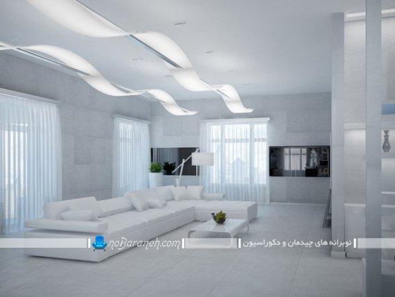 مدل سه بعدی دکوراسیون اتاق پذیرایی با رنگ سفید. مدل چیدمان مبل ال سفید رنگ در پذیرایی