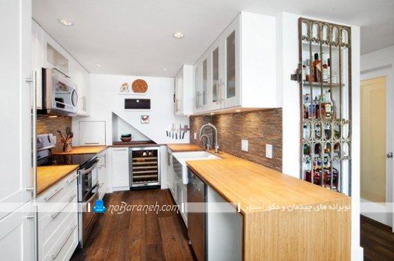 کابینت و دکوراسیون آَشپزخانه یو شکل کوچک نقلی