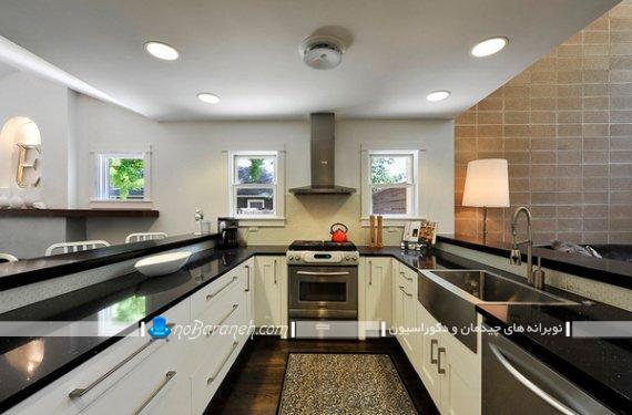 دیزاین یو شکل آشپزخانه اپن. کابینت u شکل. طراحی آشپزخانه یو