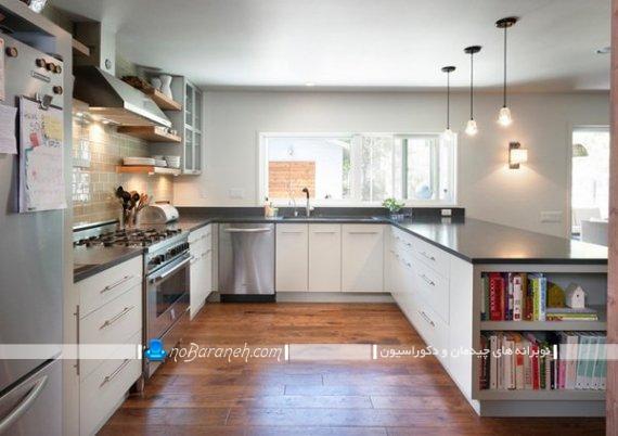 طراحی یو شکل آشپزخانه. مدل های نصب کابینت آشپزخانه بزرگ . مدل های نصب کابینت ام دی اف.
