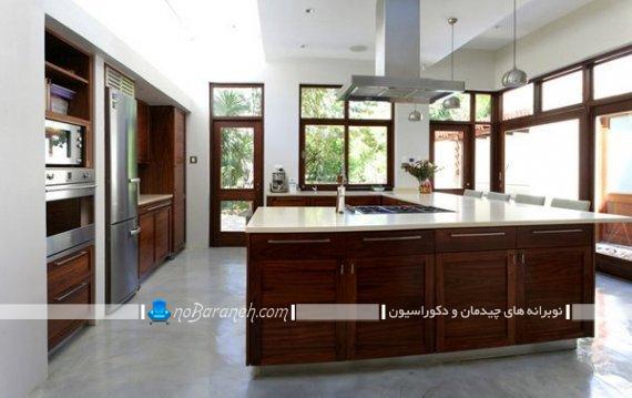 چیدمان آشپزخانه به شکل یو u . دکوراسیون آشپزخانه جزیره به شکل یو. کابینت و میز جزیره u شکل