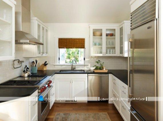 کابینت ممبران آشپزخانه یو شکل با رنگ سفید و شیری. کابینت سفید مشکی آشپزخانه با چیدمان یو