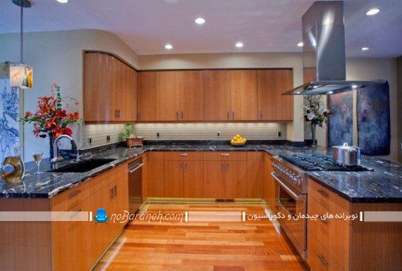 طرح کابینت آشپزخانه یو شکل مدل کابینت یو شکل. مدل دکوراسیون آشپزخانه به شکل یو U انگلیسی. مدل های کلاسیک دیزاین و دکوراسیون آشپزخانه