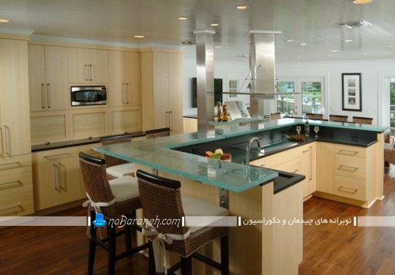 طرح کابینت آشپزخانه یو شکل. مدل میز جزیره ای یو شکل مدرن شیک کلاسیک چوبی