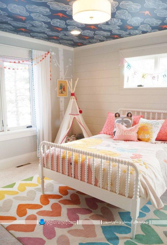 مدل های جدید تزیین سقف اتاق بچه با هزینه کم و ارزان. کاغذ دیواری فانتزی برای تزیین سقف اتاق کودکان.