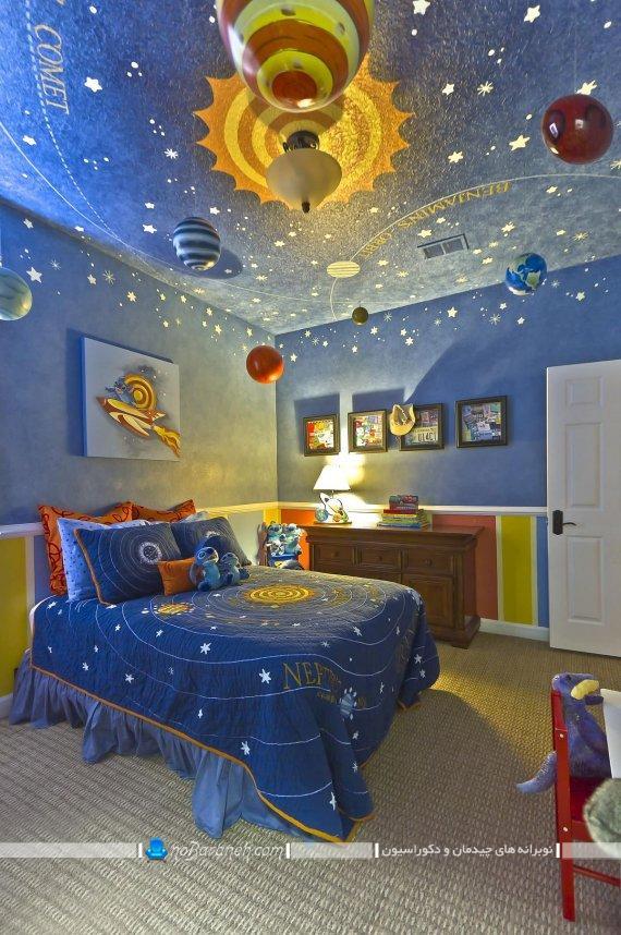 تزیینات فانتزی برای سقف اتاق کودک. تزیین و دکوراسیون شیک سقف اتاق بچه ها با کاغذ دیواری