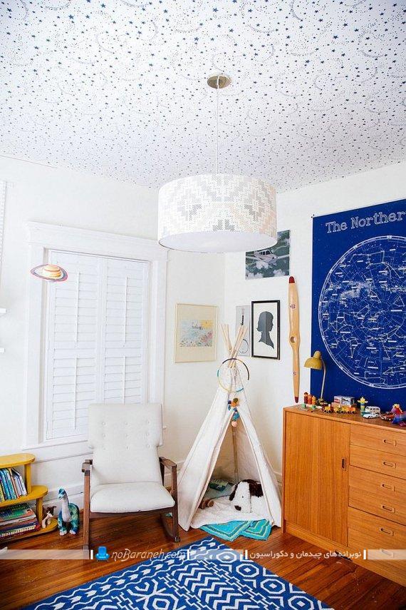تزیینات سقفی شیک برای اتاق بچه و کودک. مدل های تزیین ارزان قیمت سقف اتاق خواب با کاغذ دیواری