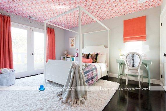 کاغذ دیواری دخترانه برای تزیین سقف اتاق خواب کودک و نوجوان. مدلهای تزیین سقف اتاق نوجوان با کاغذ دیواری ارزان قیمت
