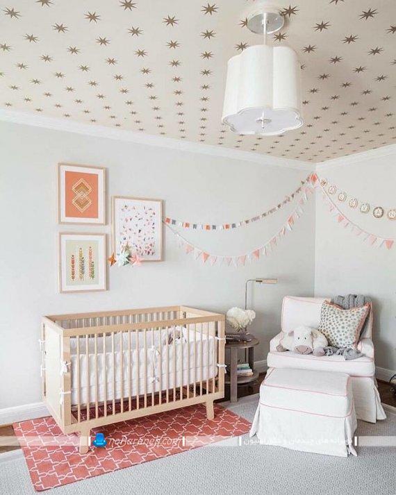 تزیین سقف اتاق بچه با کاغذ دیواری فانتزی و مدرن. مدل های جدید تزیین اتاق کودک با کاغذ دیورای شیک