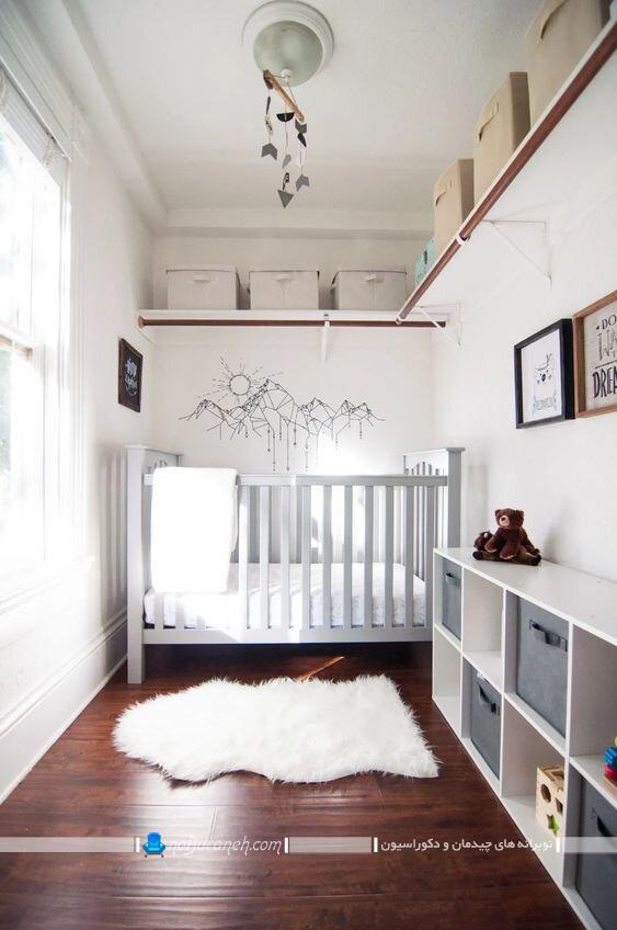 اتاق نوزاد پسر با طراحی ساده شیک مدرن. اتاق نوزاد پسرانه اتاق نوزاد پسر سیسمونی ساده
