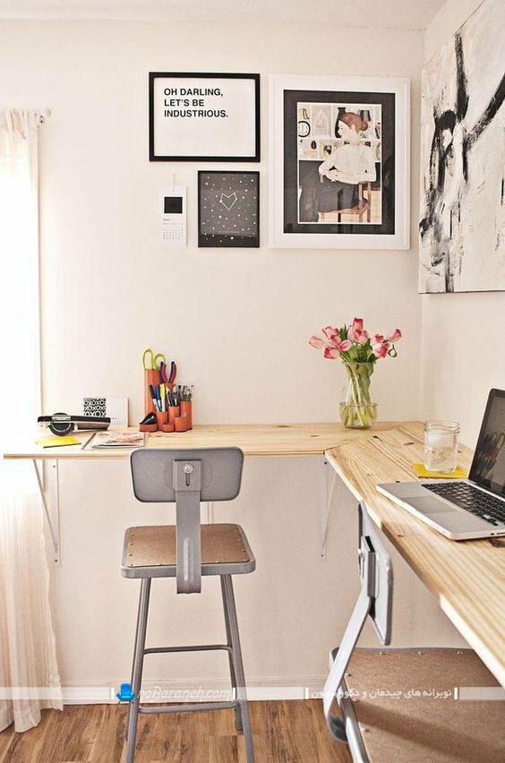 عکس میز تحریر چوبی و کنجی گوشه ای ال مدرن شیک ساده