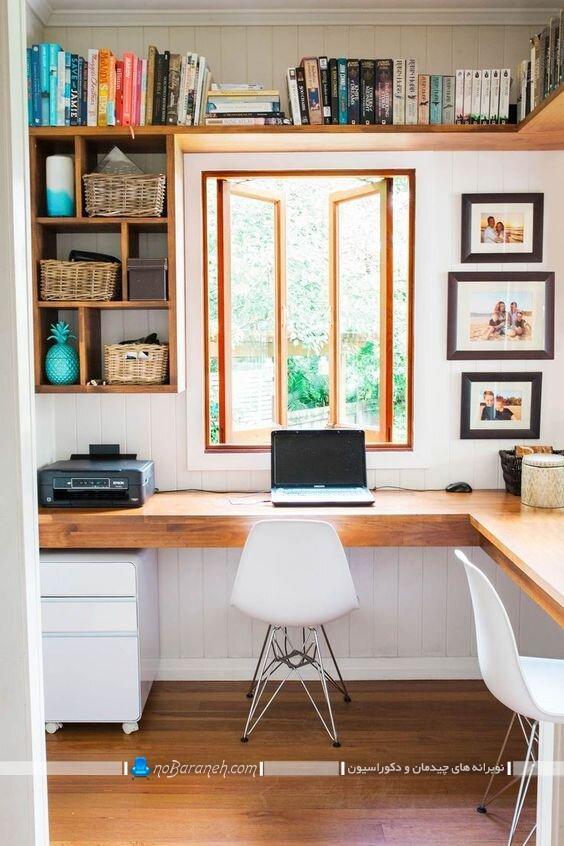 عکس میز لپ تاپ چوبی ال و کنجی