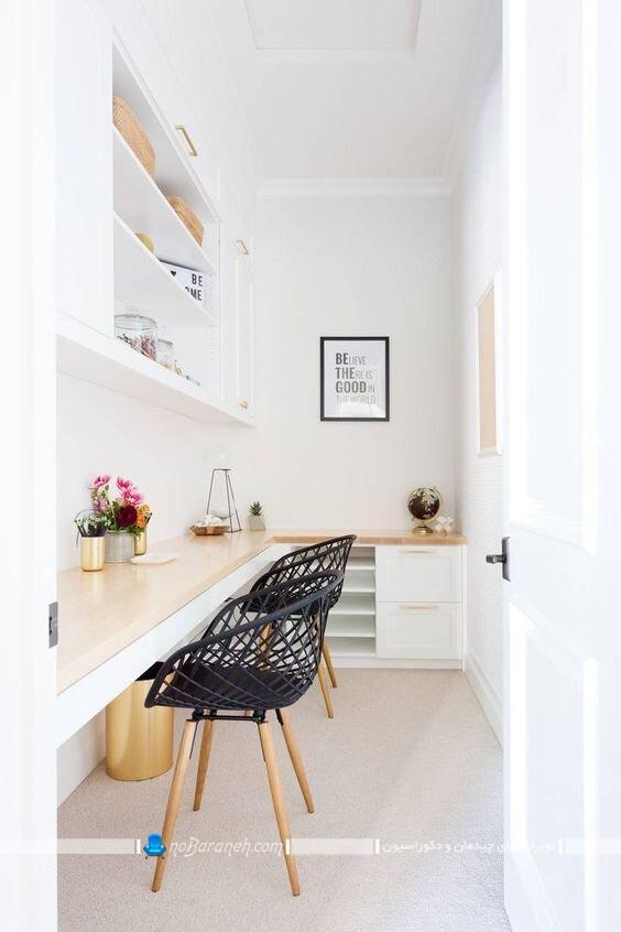 عکس میز تحریر و کامپیوتر برای اتاق های کوچک